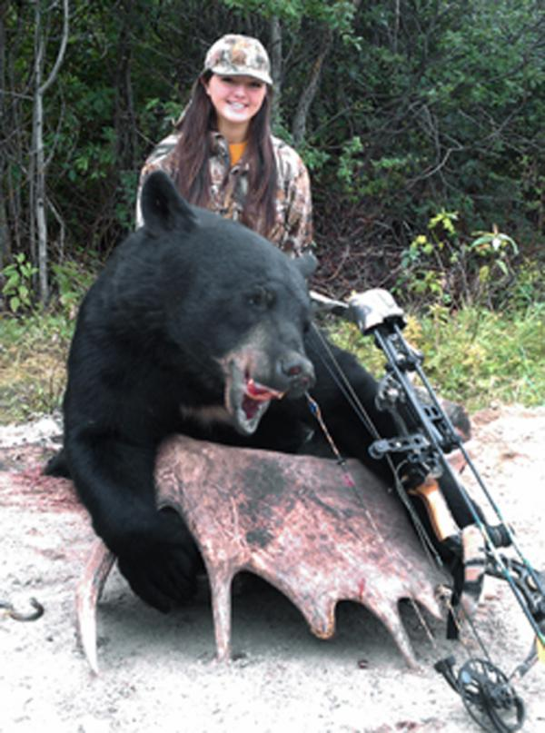 17 year old girl kills 448 lb black bear while bowhunting