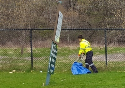 Park Staff cleaning Toronto Archery Range, April 2017
